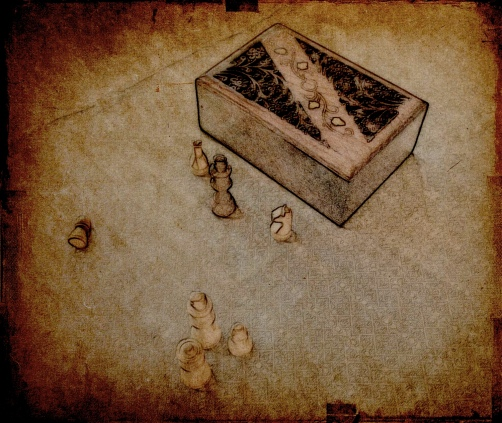 Wooden box and chess pieces