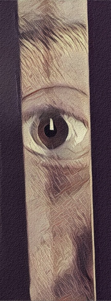 Eye looking through door