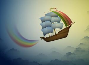 rainbow keeper, put the fairy rainbow on the sky, magic ship in the dreamland, scene from wonderland,