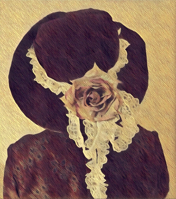 Large hat decorated with rose